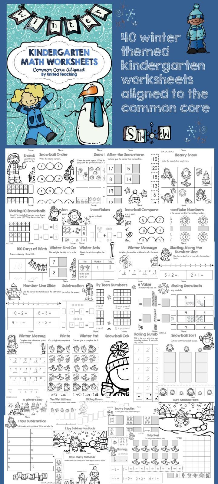 Winter Math No Prep Worksheets Kindergarten Activities Pinterest