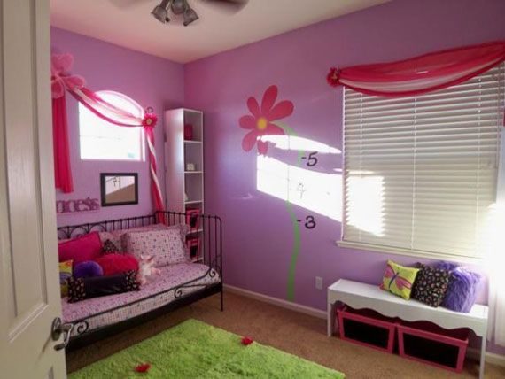 Girly purple bedroom interior design for Bedroom designs girly