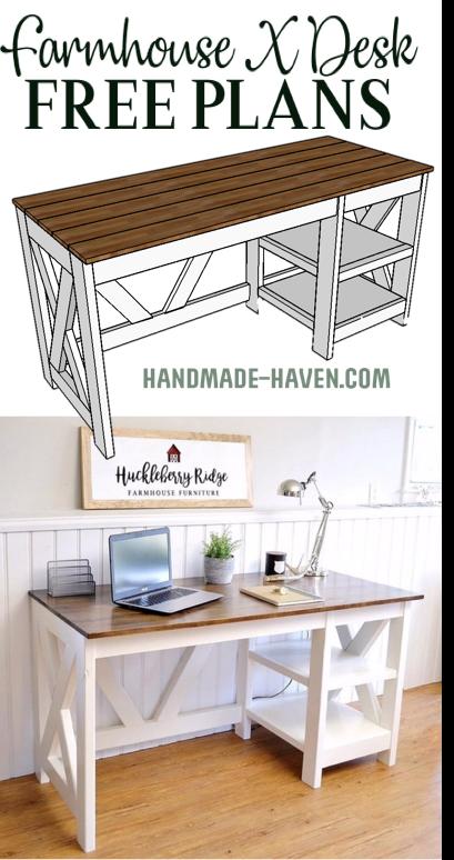 DIY Farmhouse Office Desk at the Home Office office desk