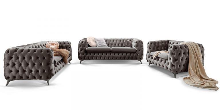 Designer Chesterfield Sofa Garnitur Samt Stoff Silber Grau Emma In 2020 Chesterfield Sofa Couchgarnitur Sofa