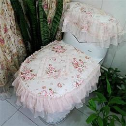 Lace shabby chic shower curtains shabby chic commode for Commode style shabby
