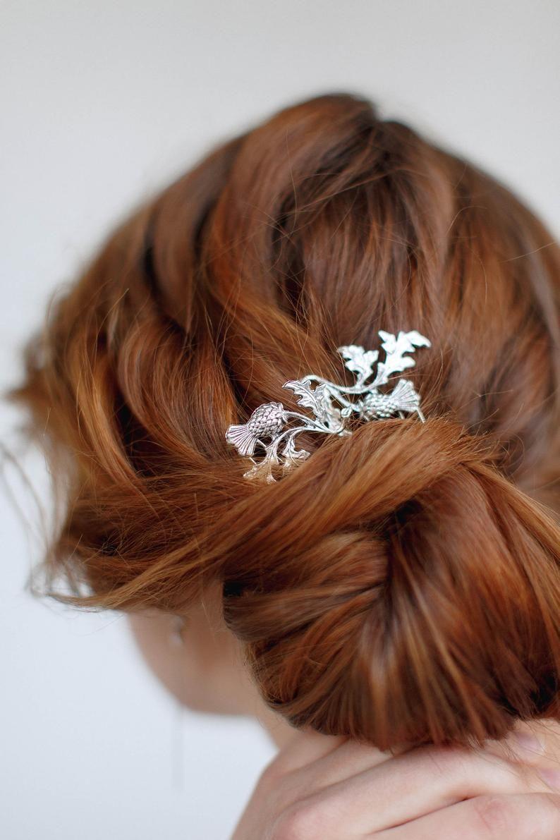 scottish thistle hair pin, silver scotland flower, thistle