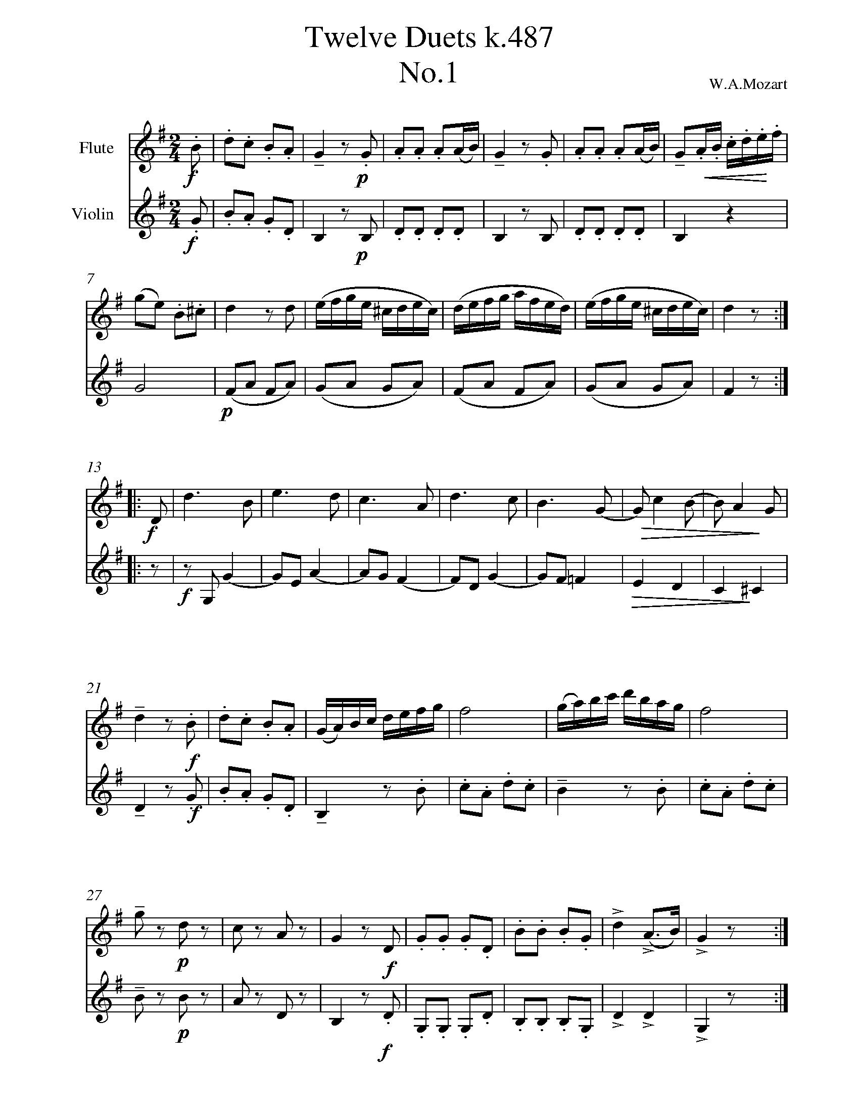 Duet No. 1 - Violin 1