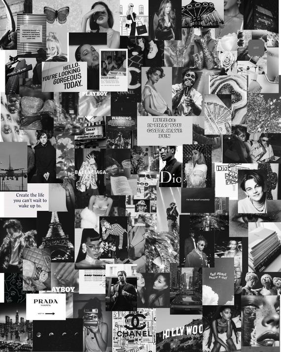80 pcs Black and White Aesthetic Collage Kit