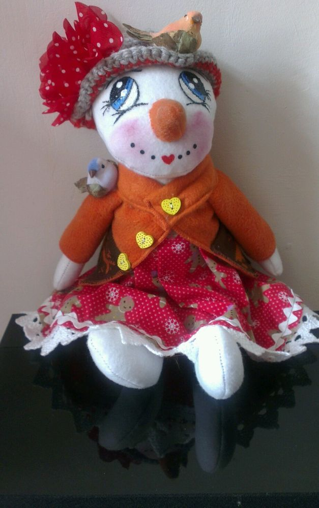 Handmade Snowman Rag Doll,  Sandy, 35cm, OOAK,  Collectable by Bianca