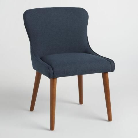 Navy Zarah Petite Wingback Upholstered Chairs Set of 2: Blue - Fabric by World Market images