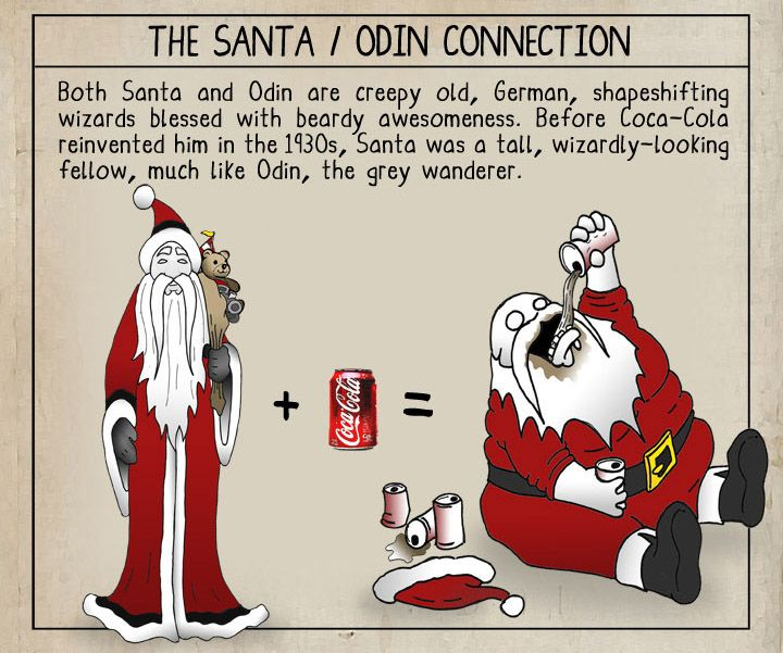Odin, transformed into Father Christmas, then Santa Claus ...