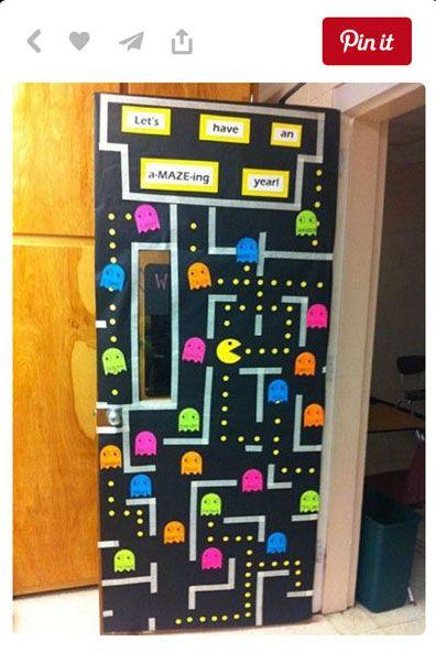 A fun pacman back to school door or bulletin board for Back to school door decoration