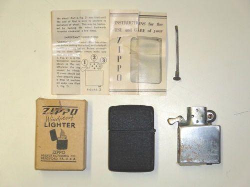 Vintage 1940s Wwii Black Crackle Zippo Lighter 3 Barrel 2032695 14 Hl For Repair Ebay Zippo Zippo Lighter Lighter