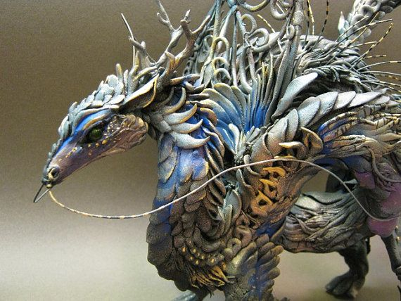 Blue Night Dragon by creaturesfromel on Etsy