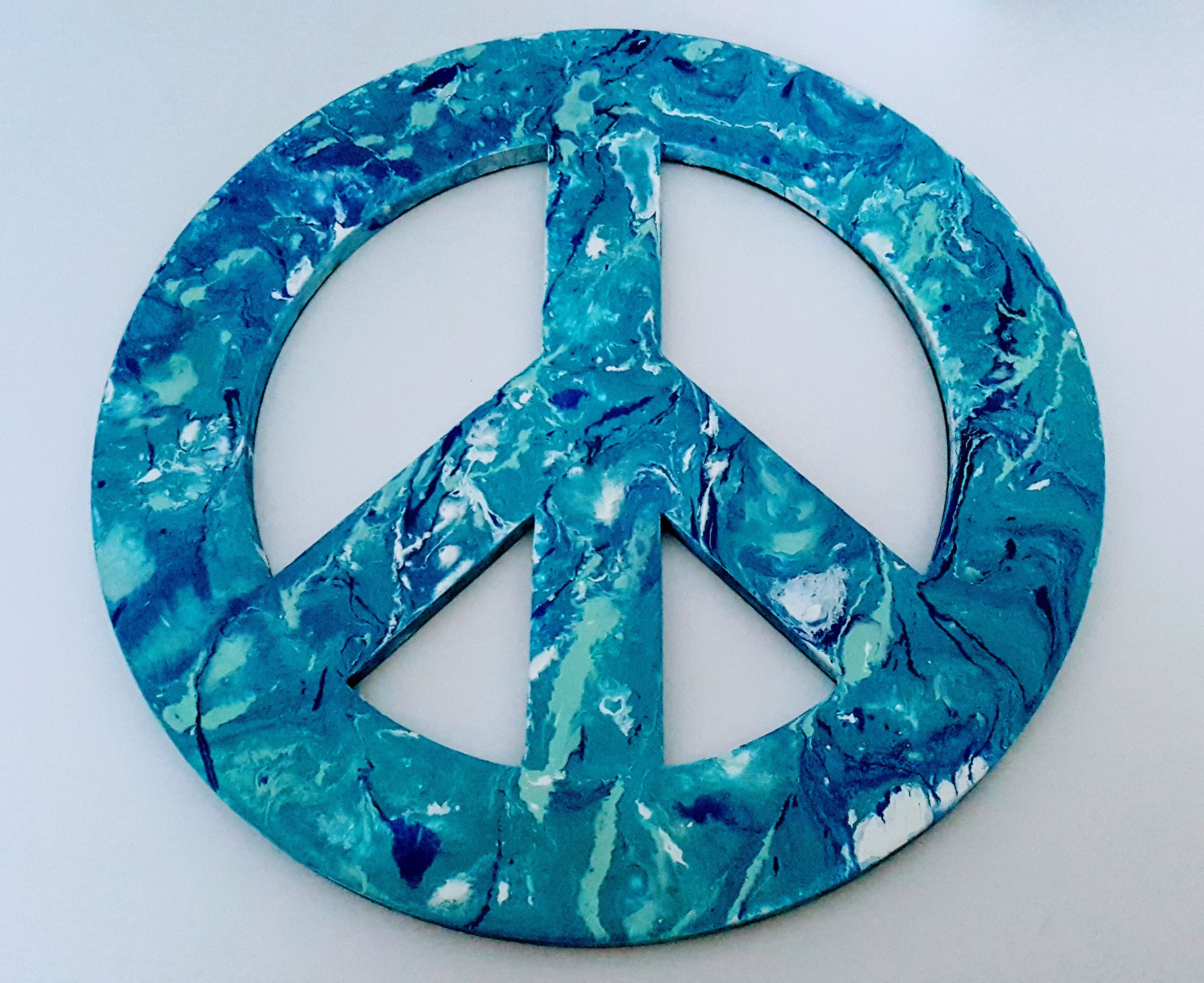 Peace Sign Blue Wall Decor Poured Paint Ready To Hang