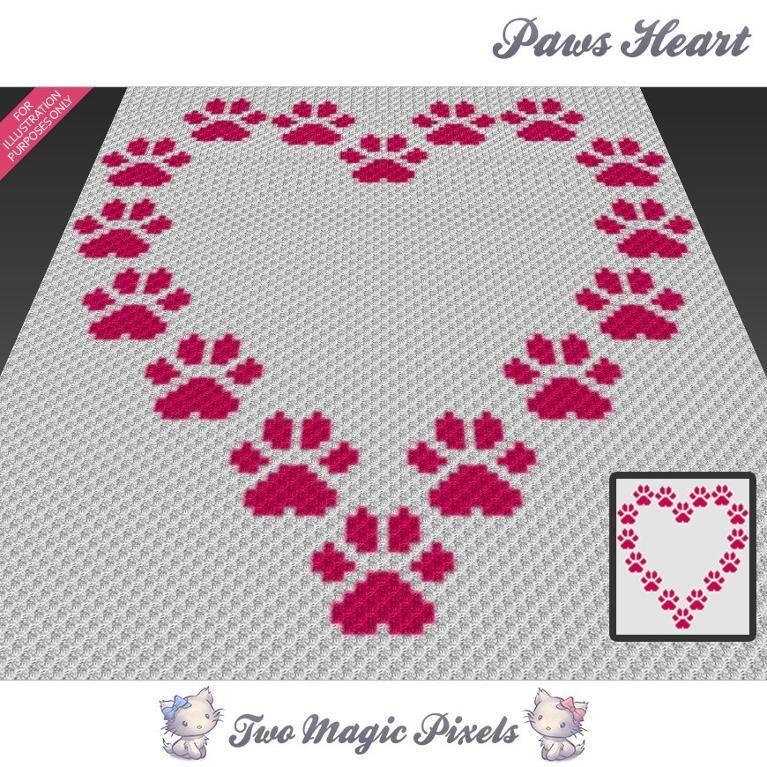 Paws Heart C2C Crochet Graph | c2c Häkeln, Decken und Häkeln