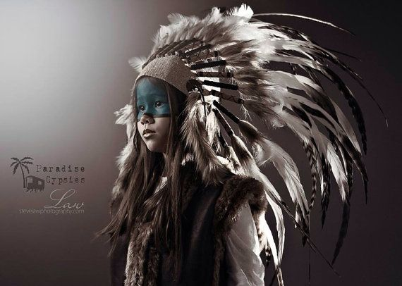 Kids Hessian Front Feather Headdress, Natural White Black Tip Feathers by Paradise Gypsies