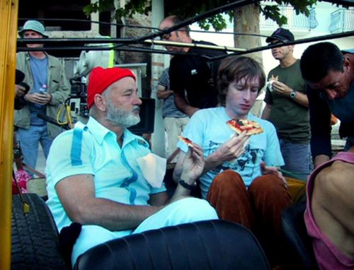 2cd6c55602a2cc Bill Murray and director Wes Anderson on the set of The Life Aquatic with Steve  Zissou (2004). Eating Pizza  File under  Celebrities