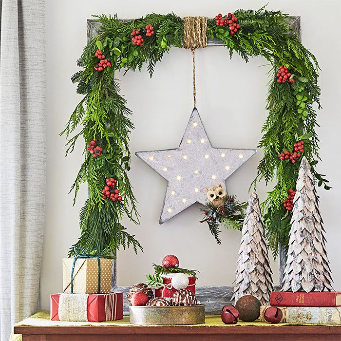 Drape A Fresh Fragrant Green Garland Over A Large Picture Frame