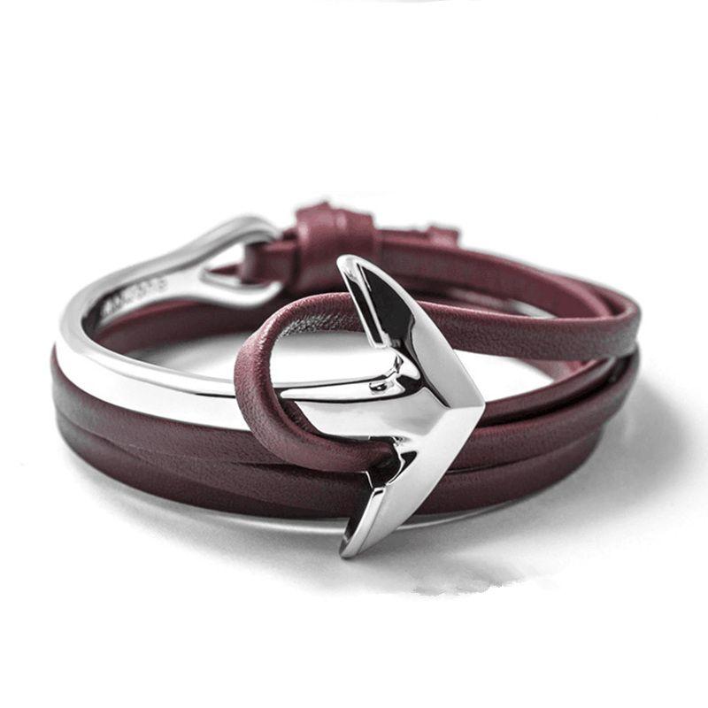 LIVVY 2016 nuovo fascino bracciale uomo con pelle di alta qualità braccialetti a più strati amicizia braccialetto di ancoraggio braccialetto di cuoio