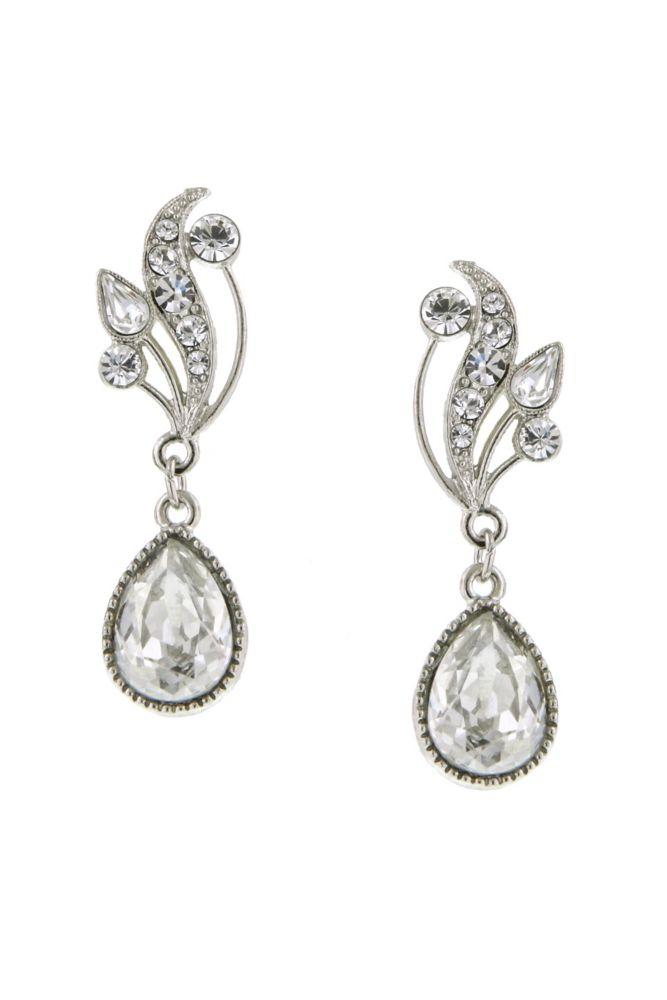 c69e7cd8b Swarovski Crystal Teardrop Vine Earrings - Crystal / Silver ...