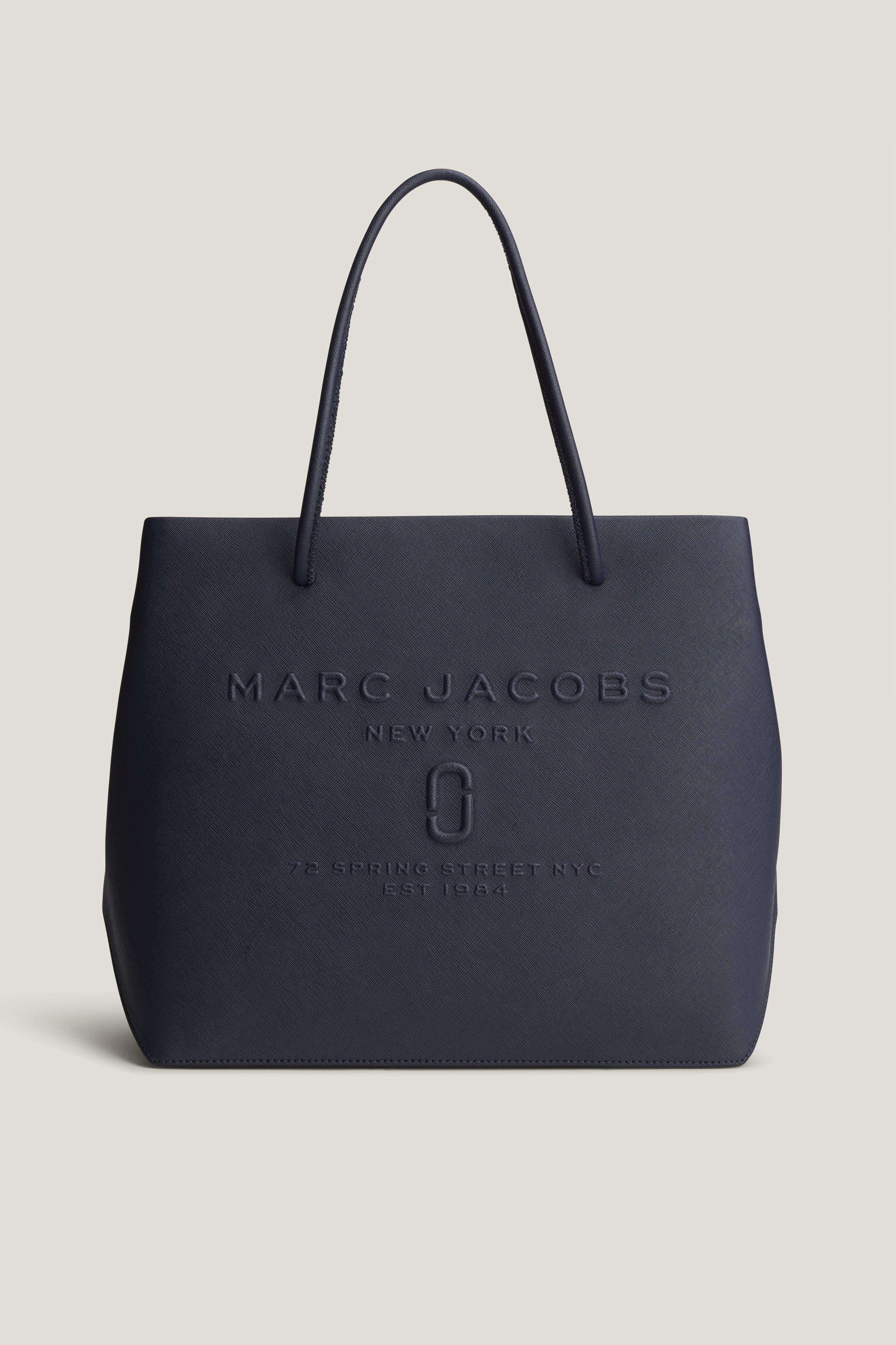 Marc Jacobs Sac Shopper EW Logo en Cuir Craquelé Noir glPtF12x