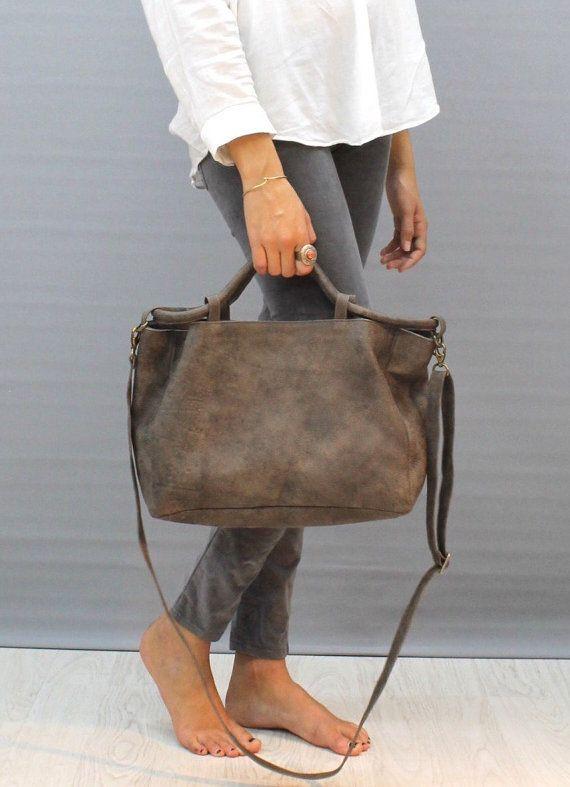 Check out Sale!!! Gray Leather crossbody bag Medium Leather crossbody  Distressed gray leather bag on limorgalili 307fdb868f