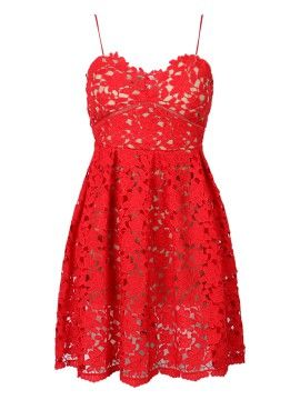 Shop Red Crochet Lace Spaghetti Strap Skater Dress From Choiescom