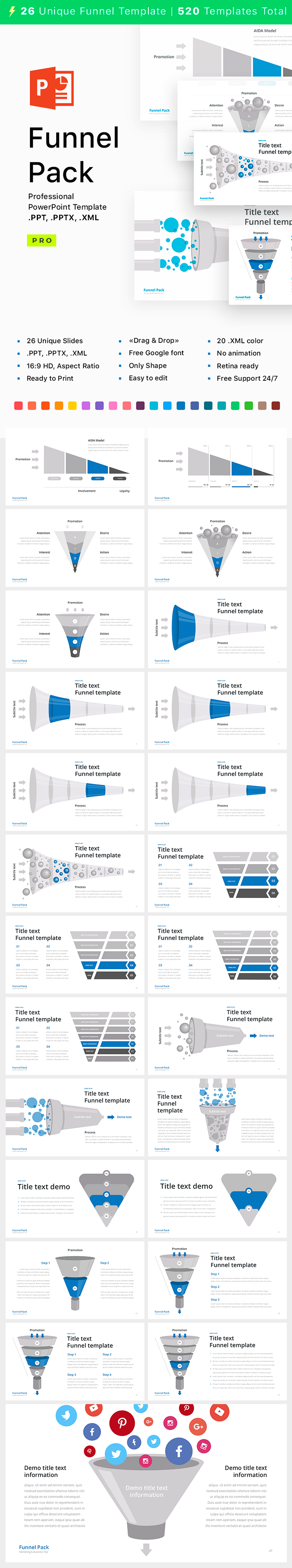 PowerPoint Funnel templates - 26 Unique templates, easy to edit .PPT ...