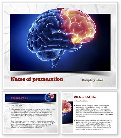 Human Brain Frontal Lobe Powerpoint Template Showing Blue Colored