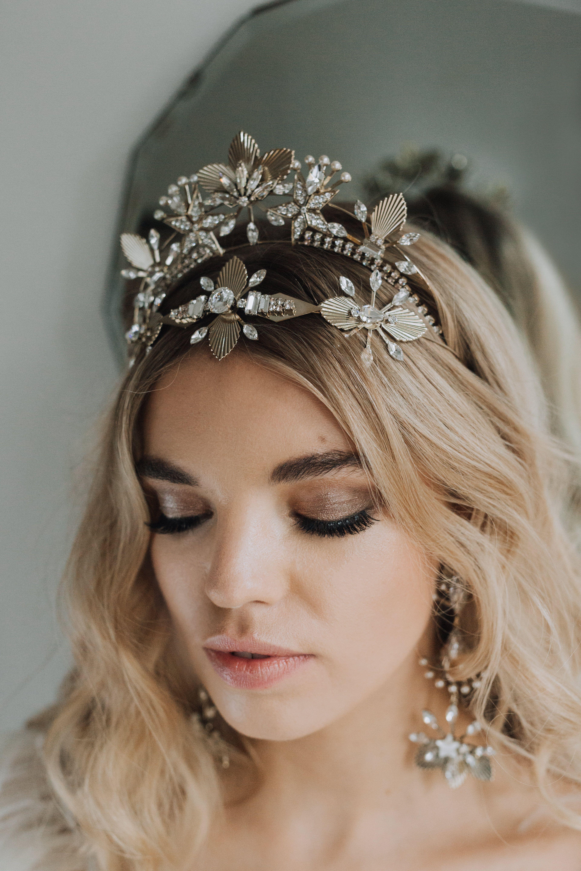 Oceania Crown Layered With Calypso Headpiece Modern Bridal Hair