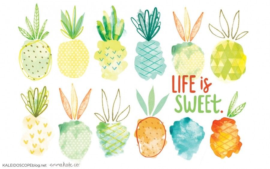 Life Is Sweet Pineapple Wallpaper Design Kaleidoscope Pineapple Wallpaper Watercolor Desktop Wallpaper Desktop Wallpaper Design