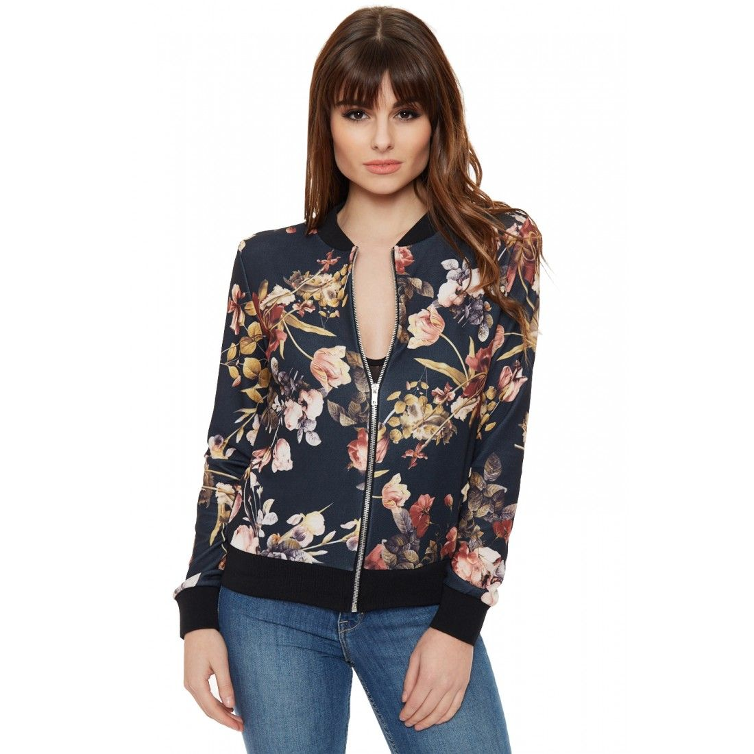 Xenia Floral Bomber Jacket - Xenia Floral Bomber Jacket Floral Bomber--碎花轰炸机 Pinterest
