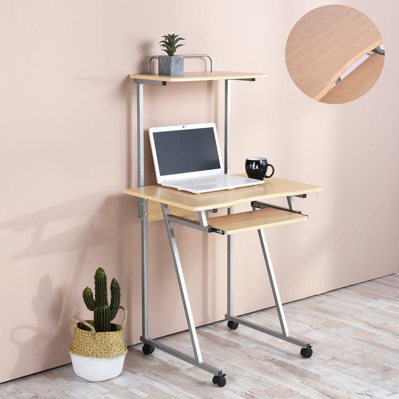 Amazon Com Aingoo Mobile Computer Desk Small Rolling Workstation