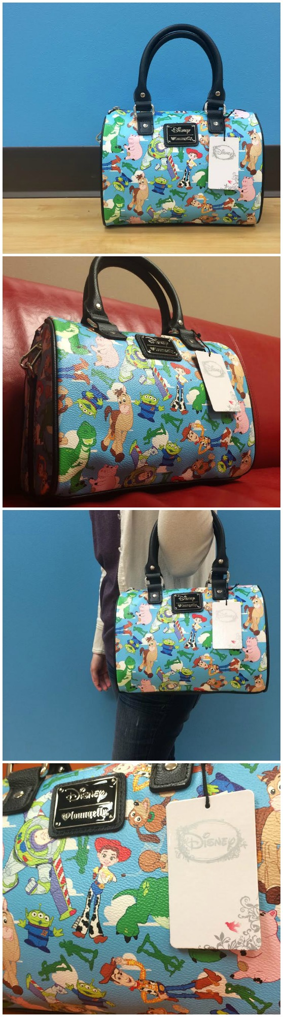 d6cf554a56 An exclusive Toy Story Loungefly bag - only at Fun.com! Woody, Buzz, Jesse,  Rex, Hamm, and more, all on a cute, blue purse!