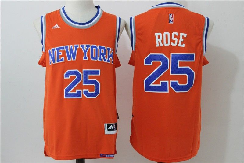 Knicks 25 Derrick Rose Orange Swingman Jersey  3fae8360a
