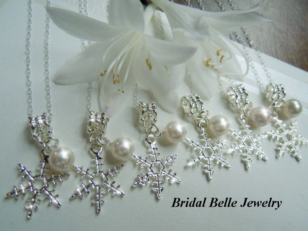 Christmas Wedding Snowflake Bridesmaid Necklaces Bridal Jewelry