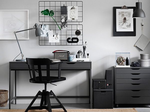 dark grey home office ikea 39 alex 39 drawer desk slaapkamer kids pinterest. Black Bedroom Furniture Sets. Home Design Ideas