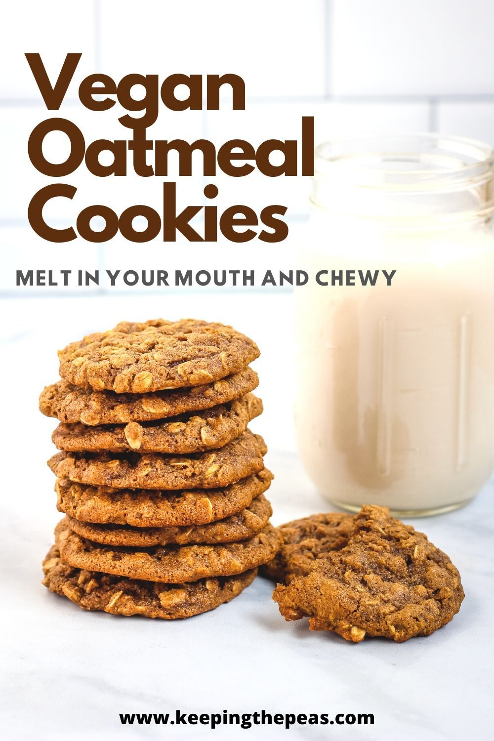 These Vegan Oatmeal Cookies Are Soft And Chewy They Re Dairy Free Oil Free And Egg Free Made With Whole Food Plant Based In 2020 Vegan Oatmeal Cookies Vegan Oatmeal