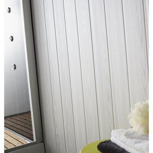 Lambris PVC imitation bois fin blanc GROSFILLEX, 260x375cm ep 8mm - plafond pvc pour salle de bain