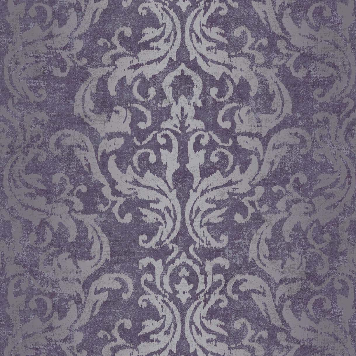 Drama Purple Damask Metallic Wallpaper Departments Diy At
