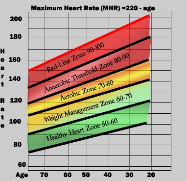 Target Heart Rate Chart For Women  The Numbers Next To Your Age