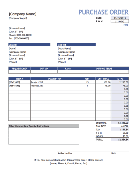 Download The Purchase Order From Vertex42 Com Purchase Order Template Invoice Template Purchase Order