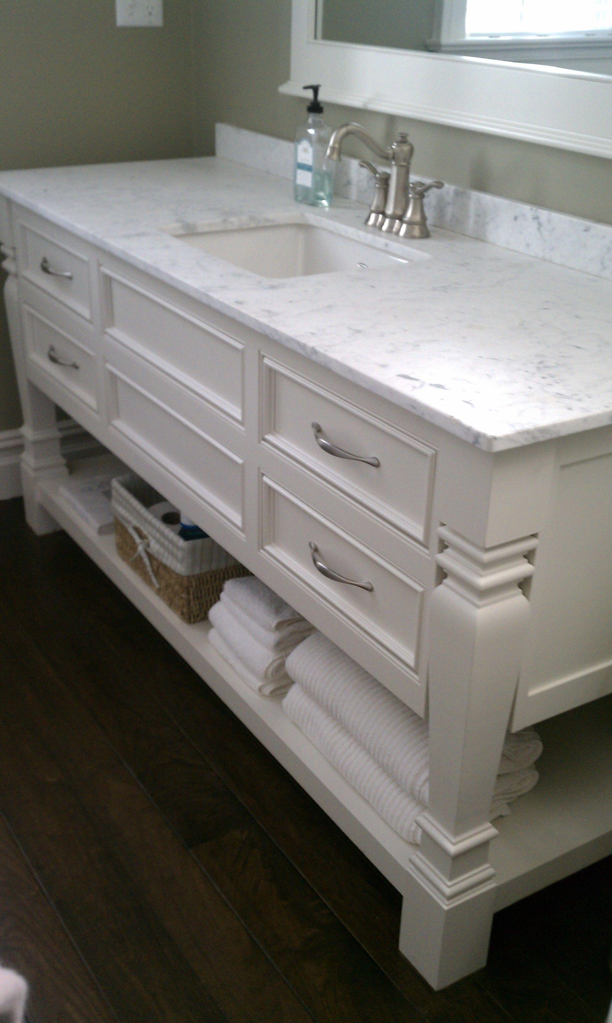 White Bathroom Vanity Guest Bathroom Beach House Open Bottom Vanity Mable Top Single Sink Dar Types Of Wood Flooring Hardwood Floors Dark Hardwood Floors
