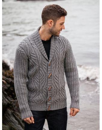 Aran Cabled Shawl Collar Cardigan With Ribbed Sleeves Menswear