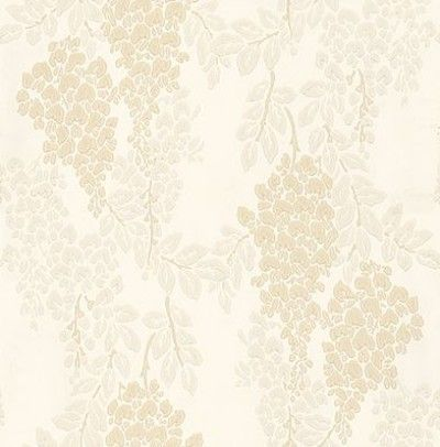 Wisteria (BP 2204) - Farrow & Ball Wallpapers - Wisteria is a classic English floral pattern with its abundant, trailing design of blossoming wisteria. Showing in light beige and grey on a cream background - more colours are available. Please request a sample for true colour match.