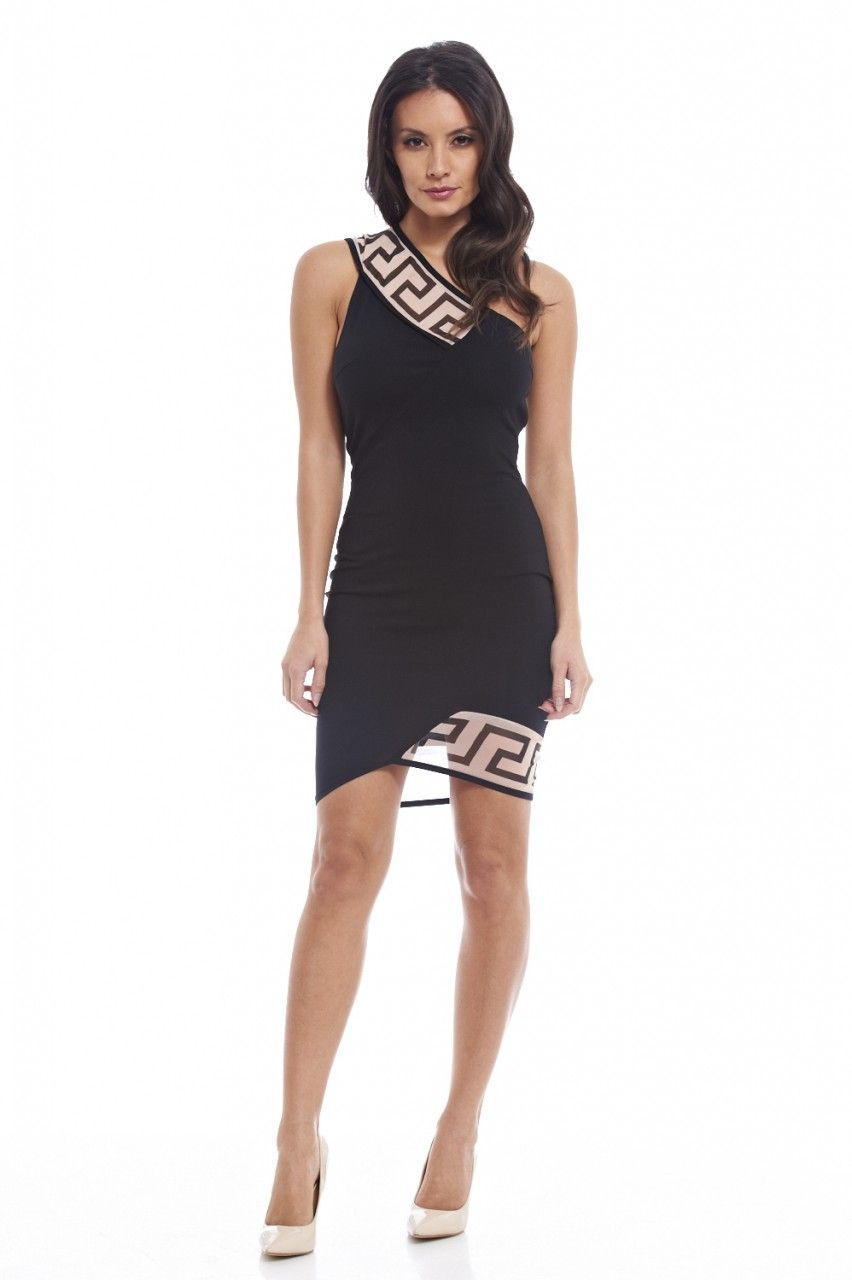 One shoulder asymmetric dress ax paris black u white pinterest