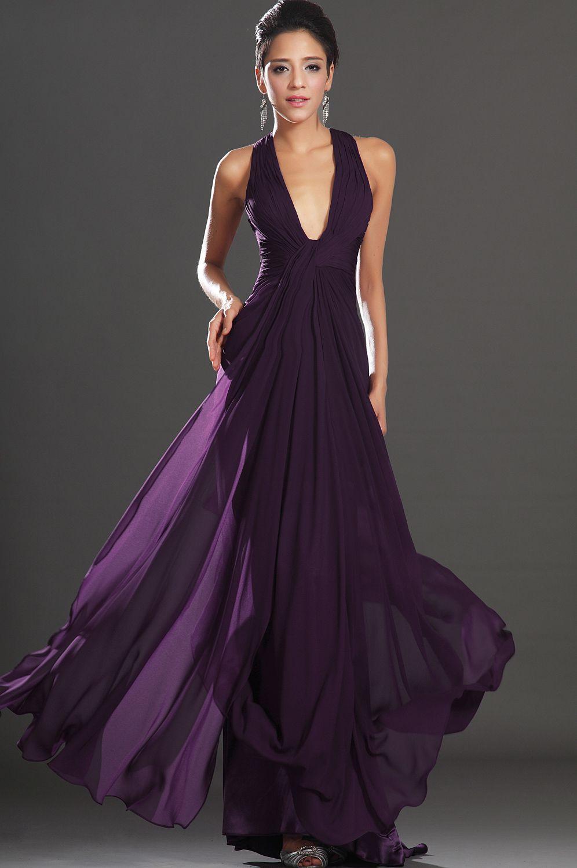 Edressit new adorable halter dark purple evening dress