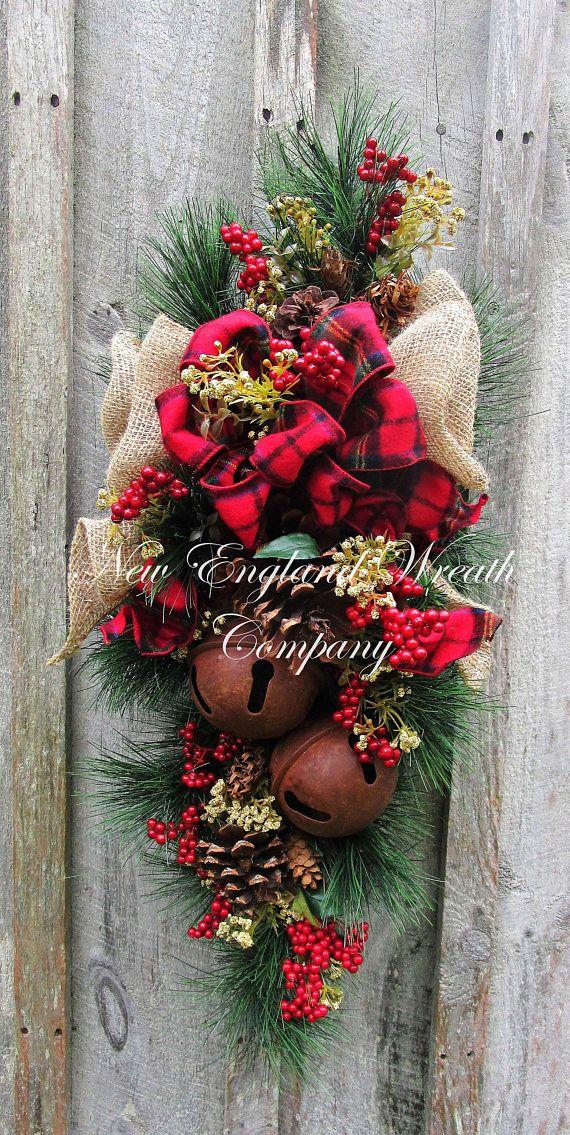 Christmas Wreath Christmas Swag Holiday Door Wreath Sleigh Wreaths