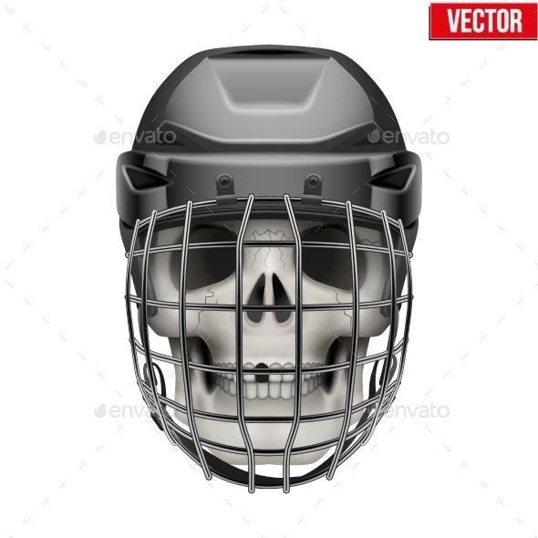 Human Skull With Ice Hockey Helmet Hockey Helmet Helmet Drawing Human Skull