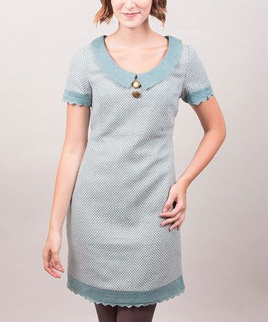 Take a look at this Blue Lace Trim Grace Cap-Sleeve Dress by Riverside on #zulily today!