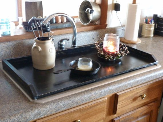 Primitive Kitchen Tray Black Sink Cover Country Kitchen Tray Wooden Tray Stove Top Cover Noodle Board St Primitive Kitchen Kitchen Sink Cover Sink Cover