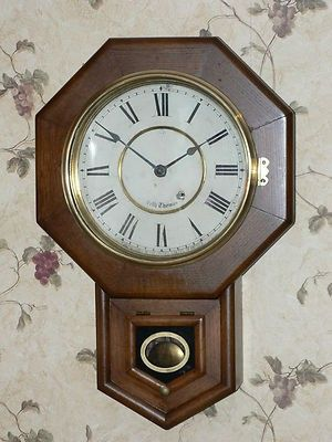 Antique Seth Thomas 8 Day Time Only School House Clock 413922845 Clock Craftsman Wall Clocks Pendulum Wall Clock