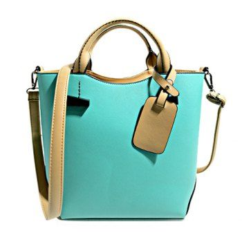 $28.29 Stylish Color Block and Pendant Design Tote Bag For Women